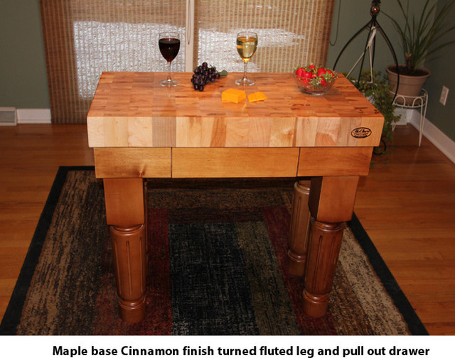 End Grain Butcher Block Kitchen Island : Maple End Grain Butcher Block Kitchen Island Cart with Maple Base - Craftsman - Kitchen ...