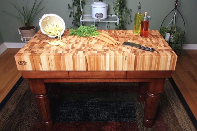 Maple End Grain Butcher Block Kitchen Island Cart With
