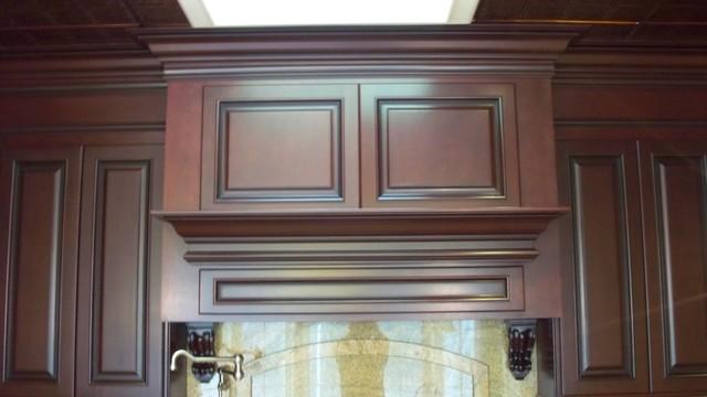 Maple in dark mahogany finish traditional kitchen for Bombay mahogany kitchen cabinets