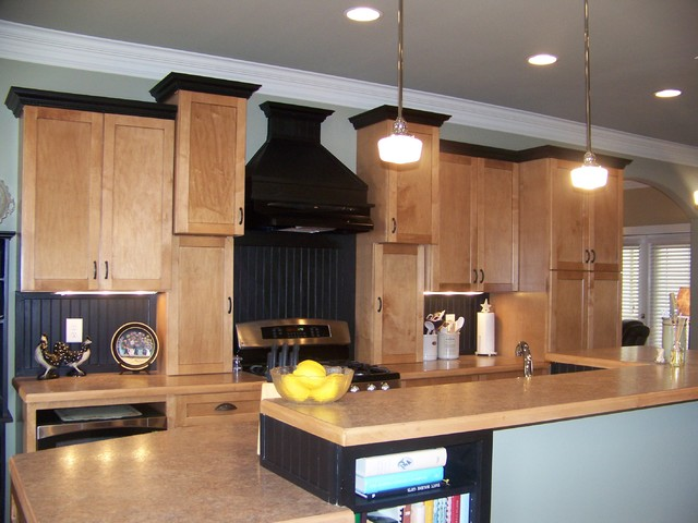 Dark Kitchen Cabinets With Oak Trim