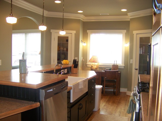 eclectic kitchen Maple Kitchen Black Trim Craftsman
