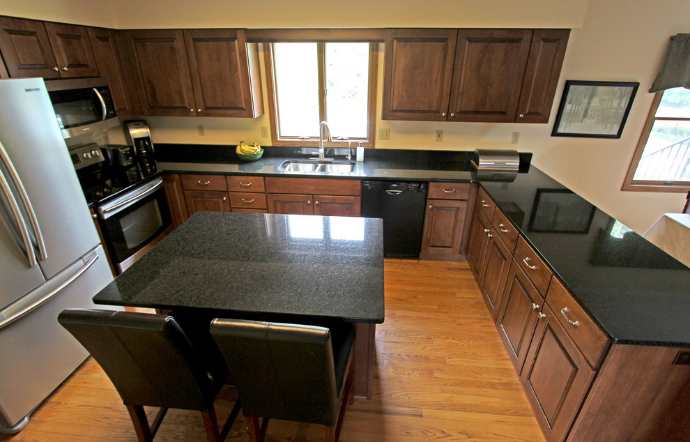 Maple Kitchen Cabinets with Black Pearl Granite ... on Maple Cabinets With Black Granite Countertops  id=62976