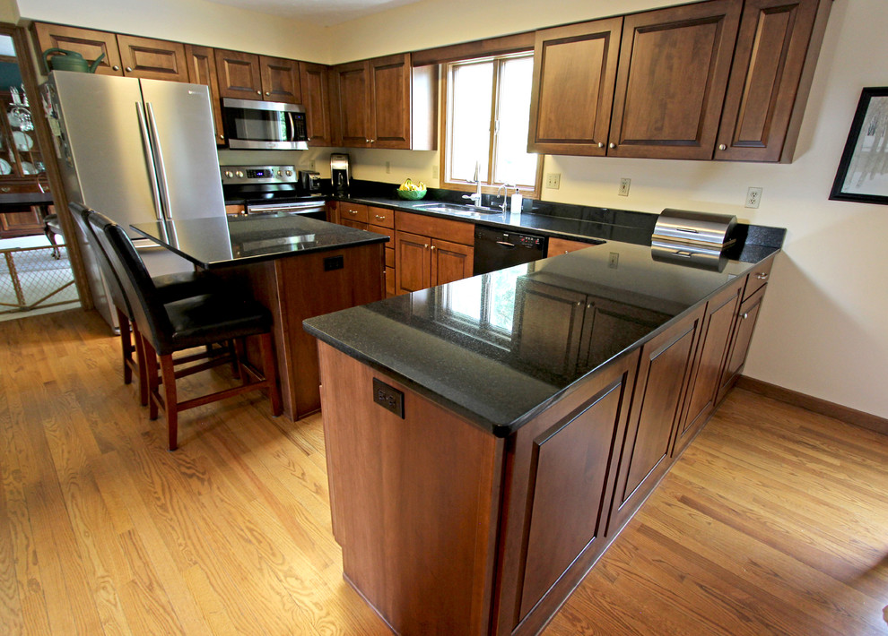 Maple Kitchen Cabinets with Black Pearl Granite ... on Maple Kitchen Cabinets With Black Countertops  id=15691