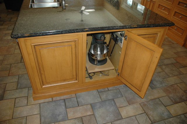 Maple kitchen island with mixer lift