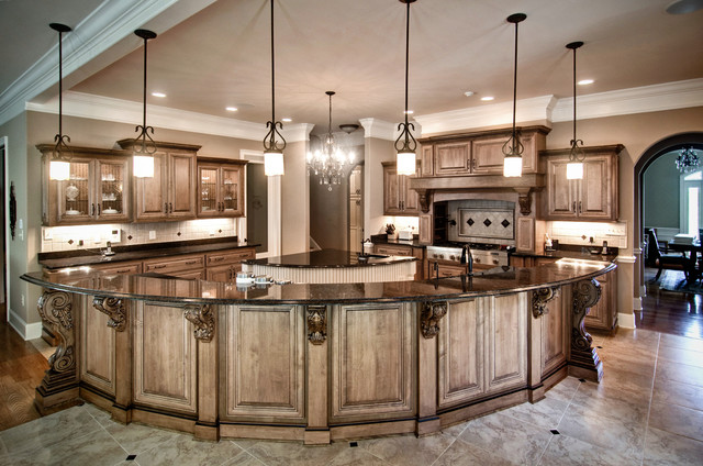 Maple Kitchen With Radius Serving Bar Contemporary