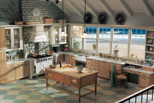 Maple Wheat Frost Glaze and Morel Vintage with Chestnut Knotty Alder beach-style-kitchen