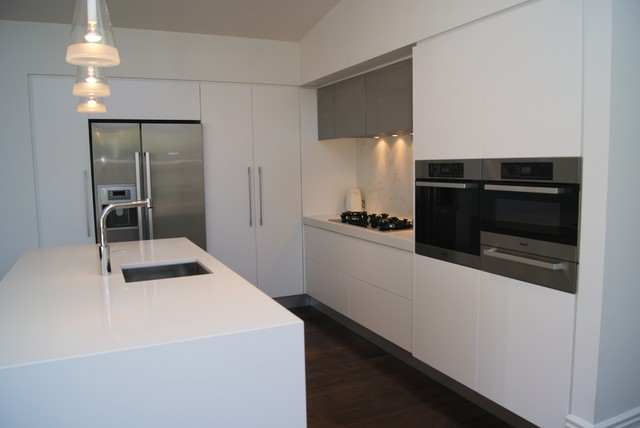 Contemporary White Kitchen marble and white kitchen - contemporary - kitchen - auckland -