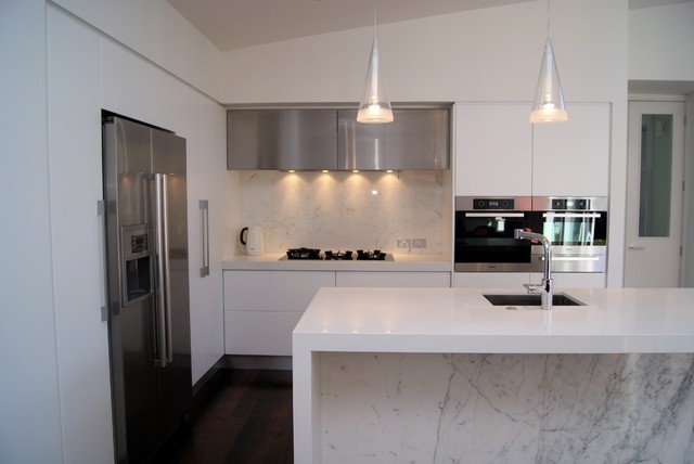 White Kitchen Marble marble and white kitchen - contemporary - kitchen - auckland -