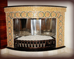 Marble Mosaic Fireplace mantels contemporary-living-room