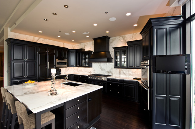 black kitchen cabinets with white marble countertops. Contemporary Kitchen Marble  White Carrara Traditionalkitchen To Black Kitchen Cabinets With Countertops Houzz