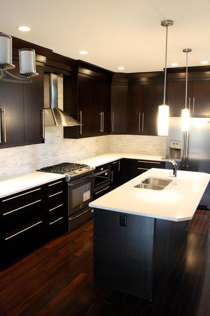 Marda Loop  Kitchen - Espresso Flat Veneer Slab modern-kitchen