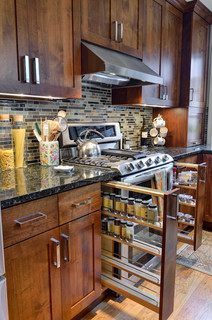 Traditional Kitchen Remodel with Pull Out Spice Rack