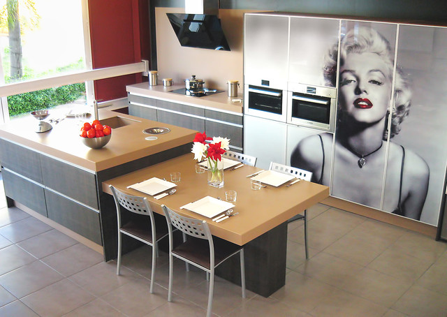 Marilyn monroe kitchen contemporary kitchen dallas for Kitchen cabinets lowes with wall art marilyn monroe