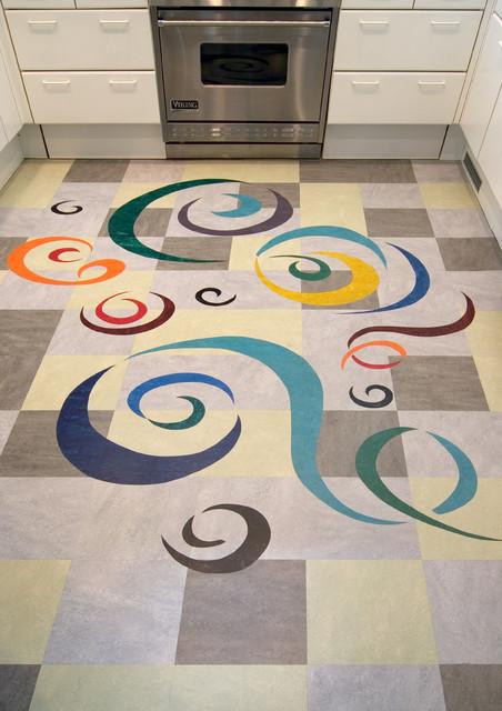 Marmoleum - Modern - Kitchen - los angeles - by Crogan Inlay Floors