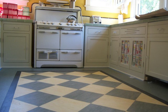 Marmoleum in san jose home eclectic kitchen san francisco by slaughterbeck floors inc - Retro flooring kitchen ...