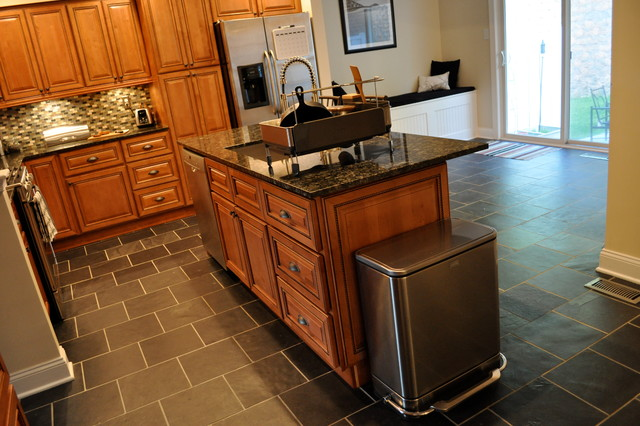 Marquis cinnamon kitchen with center island traditional for Kitchen center island cabinets