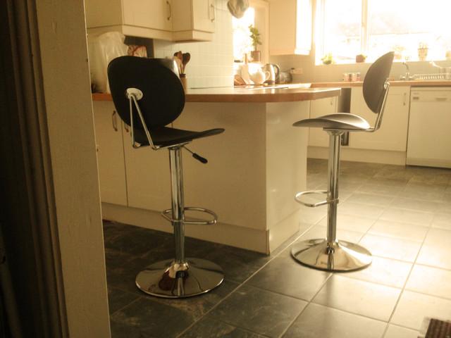 Martha Adjustable Breakfast Bar Stools At A Breakfast Bar In Southampton.  Contemporary Kitchen