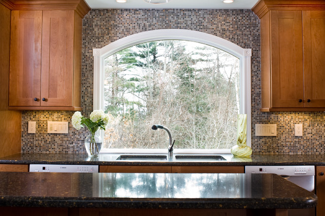 Marvin arched custom window eclectic kitchen boston for Arched kitchen window treatment ideas