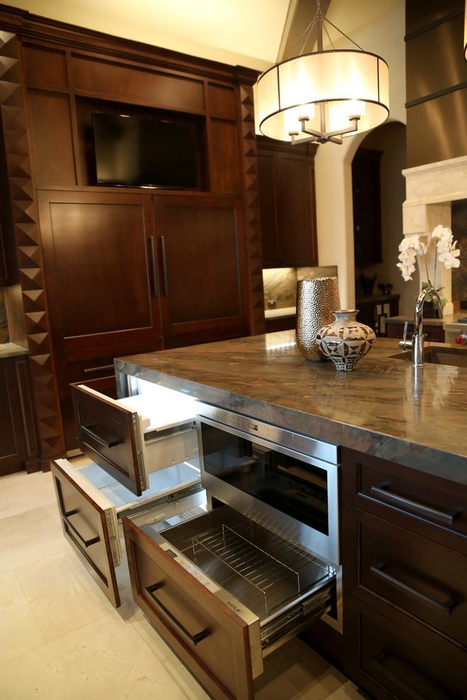 Masculine Copper Dune Granite Kitchen - Transitional ...