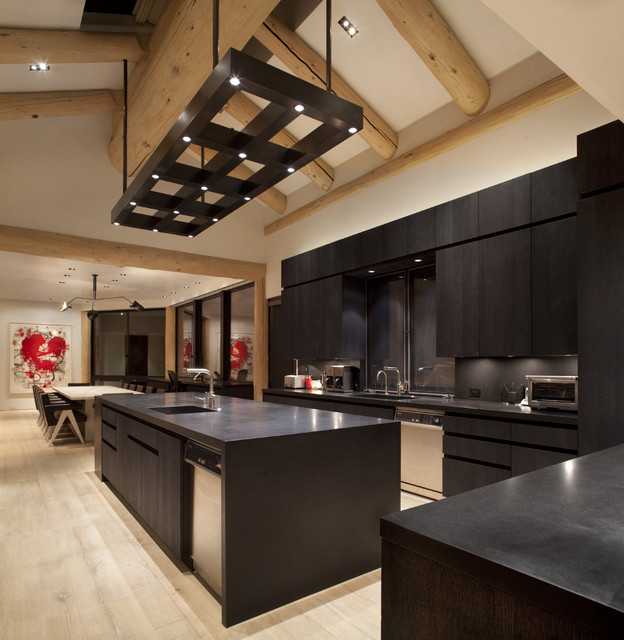 Wonderful Masculine Custom Light Fixture Contemporary Kitchen
