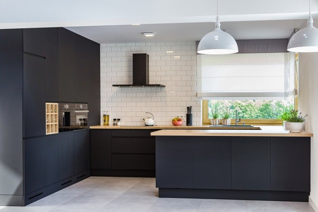Matte Black Modern Kitchen Contemporary Kitchen Other