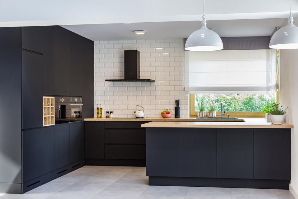 Matte Black Modern Kitchen