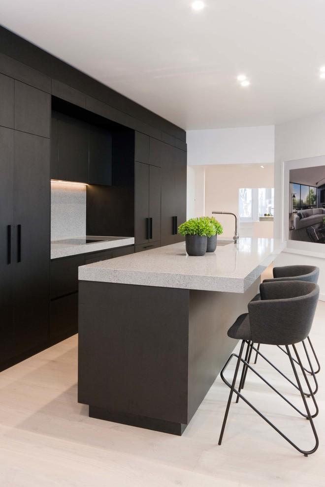 Matte Black Timber Grain   Contemporary   Kitchen   Sydney ...