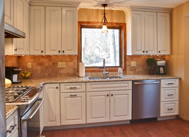 Maximizing a small kitchen space traditional kitchen minneapolis by devane design - Cabinets for small kitchens designs ...