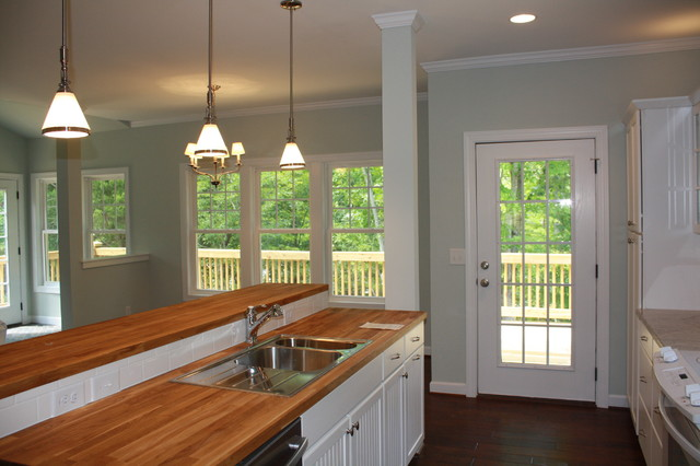 ... kitchen Ikea Oak Counters white beadboard cabinets traditional-kitchen