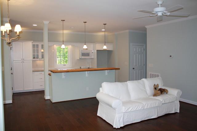 Mayo Lake Cottage Living Room Beadboard Kitchen Ikea white sofa slipcovered traditional kitchen
