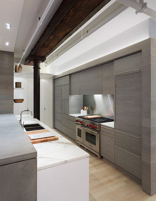 Meatpacking loft kitchen modern kitchen new york by leone design studio Leon house kitchen design