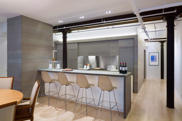 Meatpacking loft kitchen modern kitchen new york for New york style kitchen design