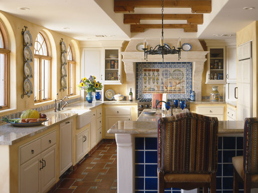 Colonial blue kitchen cabinets for Kitchen cabinets in spanish