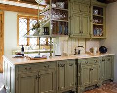 Sage brush polished traditional kitchen countertops for Brushed sage kitchen cabinets