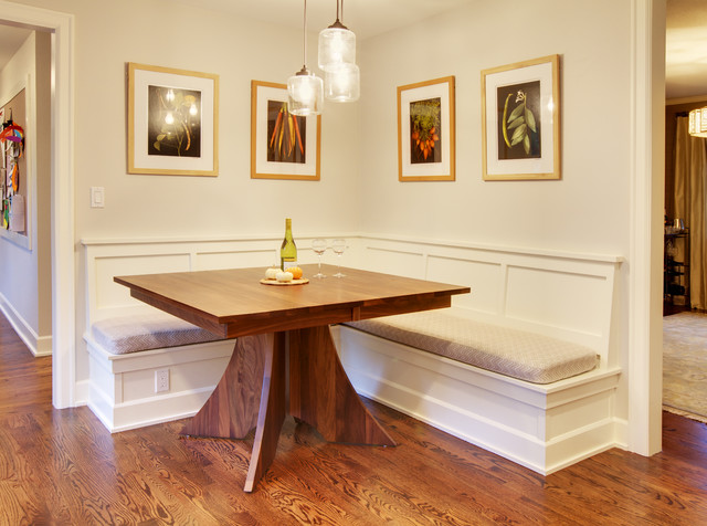 Mercer Island Dining Table W/Built In Benches Traditional Kitchen
