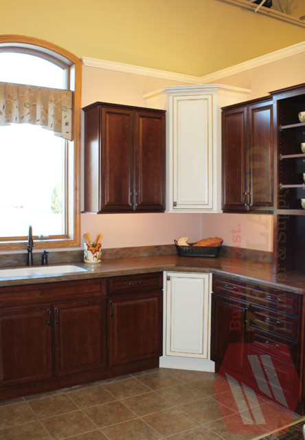 merillat kitchen with contrasting cabinets at zeeland