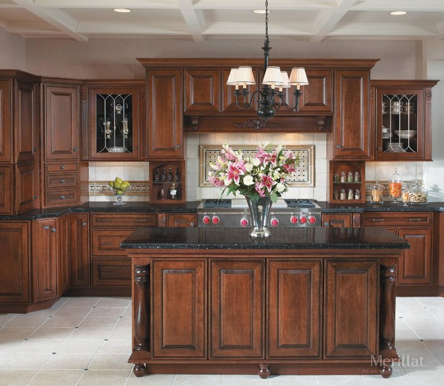 Merillat masterpiece caliseo in cherry chocolate with for Merillat cabinets