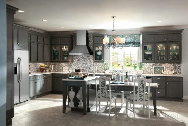 Merillat masterpiece harmond in maple greyloft for Merillat white kitchen cabinets