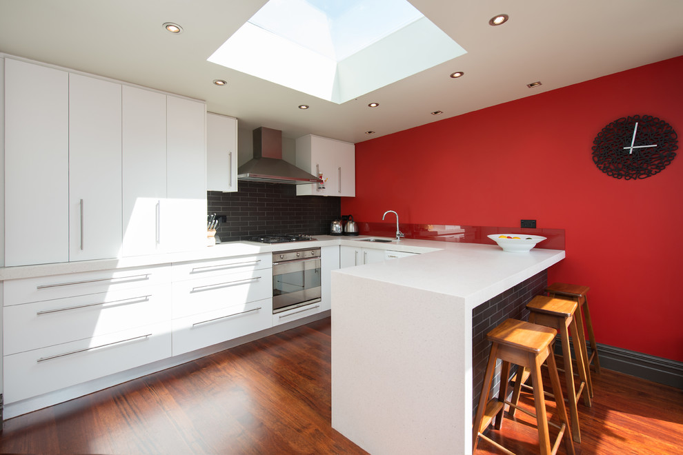 Contemporary separate kitchen with a double-bowl sink, marble benchtops, black splashback, cement tile splashback, stainless steel appliances and medium hardwood floors.
