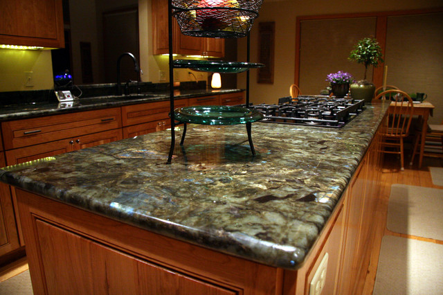 Green Countertops Kitchen : Mermaid Green Granite Kitchen Counter - Modern - Kitchen - Grand ...