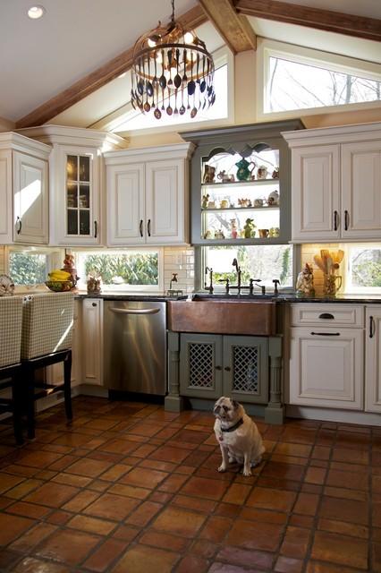 Tri Color Kitchen - Rustic - Kitchen - huntington - by Merri Interiors, Inc.