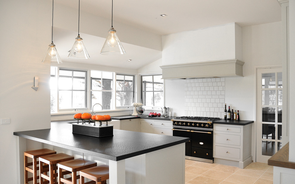 Kitchen - farmhouse beige floor kitchen idea in Melbourne with black appliances and gray cabinets