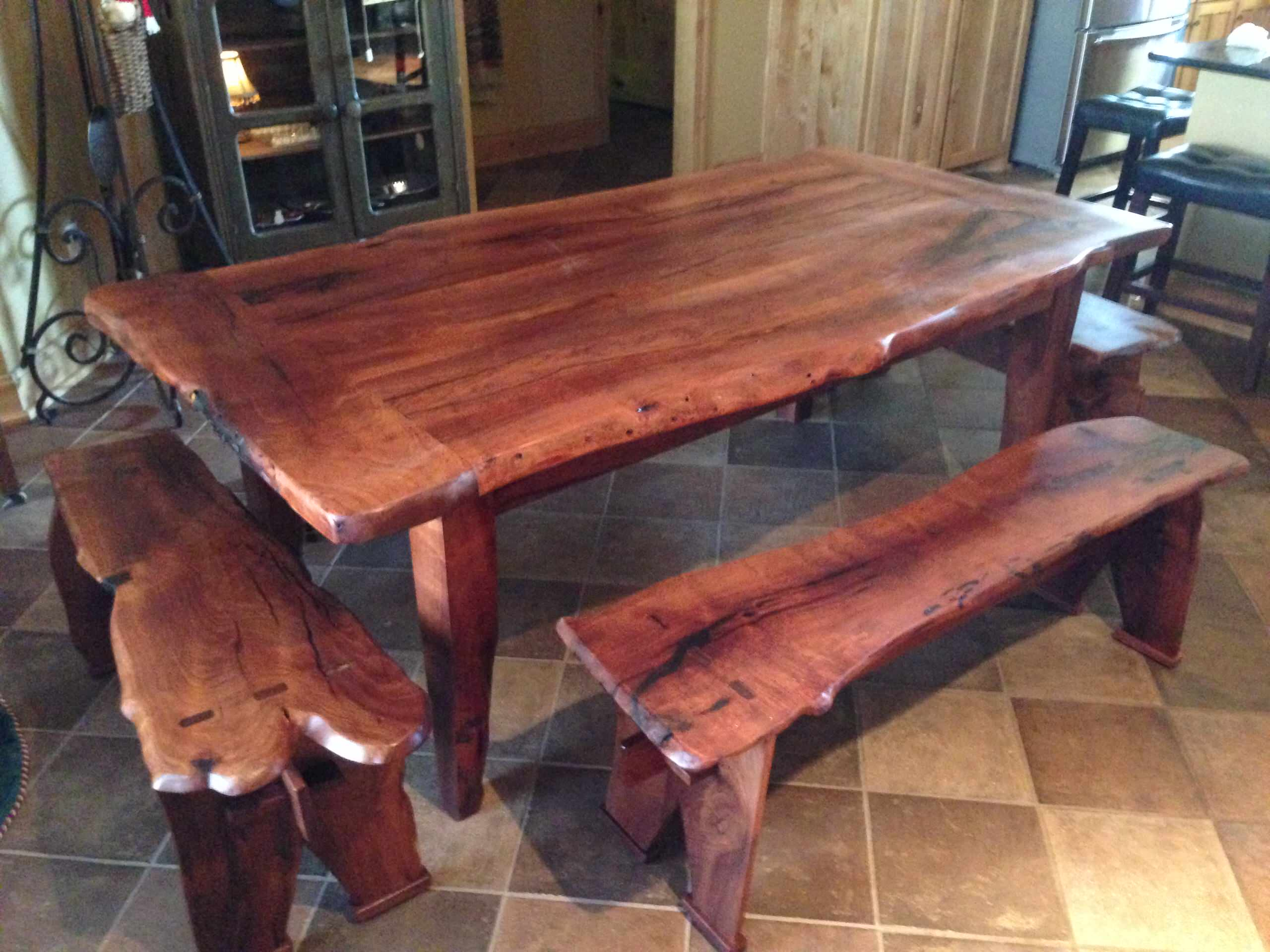 Mesquite  live edge tressel table and benches
