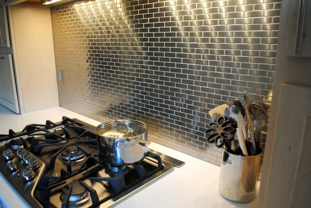 meta steel over ceramic mini subway tile backsplash