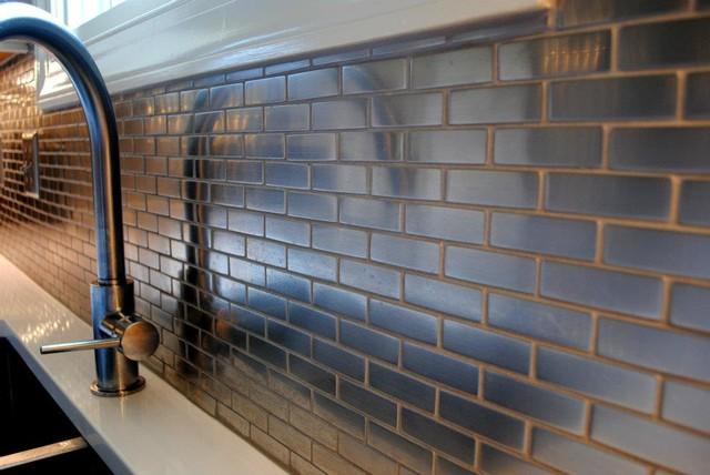 Meta Steel Over Ceramic Mini Subway Tile Backsplash contemporary-kitchen - Meta Steel Over Ceramic Mini Subway Tile Backsplash - Contemporary