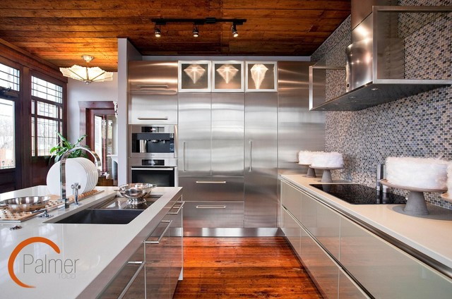 Metal allure contemporary kitchen austin by palmer for Allure kitchen cabinets