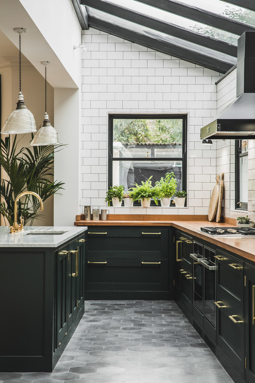 Dark cabinets work wonderfully when they're paired with complementary colors