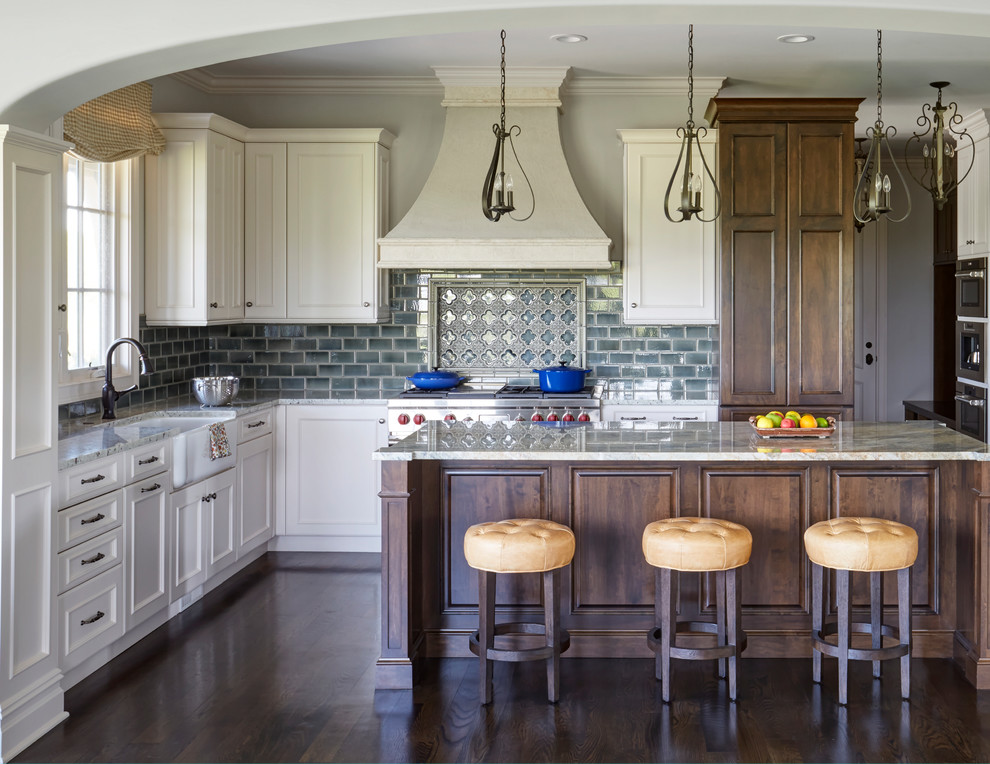 Mettawa Illinois French Country Kitchen With Art Tile Backsplash French Country Kitchen Chicago By Orren Pickell Building Group Houzz