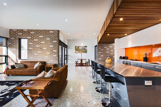 Mewstone Polished Conc & reverse brick veneer contemporary-kitchen