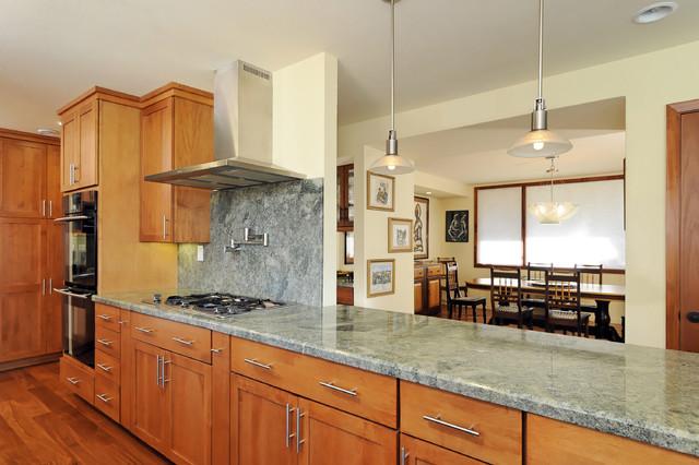 Good Elegant Kitchen Photo In San Francisco With Shaker Cabinets, Medium Tone  Wood Cabinets, Gray